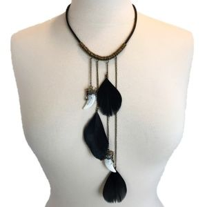 BLACK FEATHER FAUX CLAW STATEMENT COLLAR NECKLACE